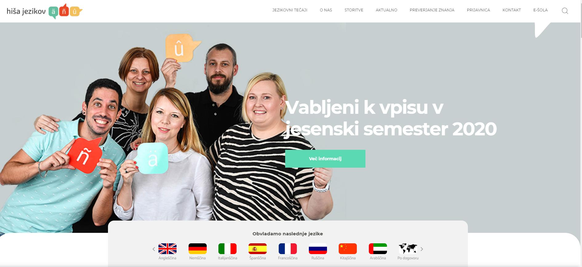 Hiša jezikov domača spletna stran