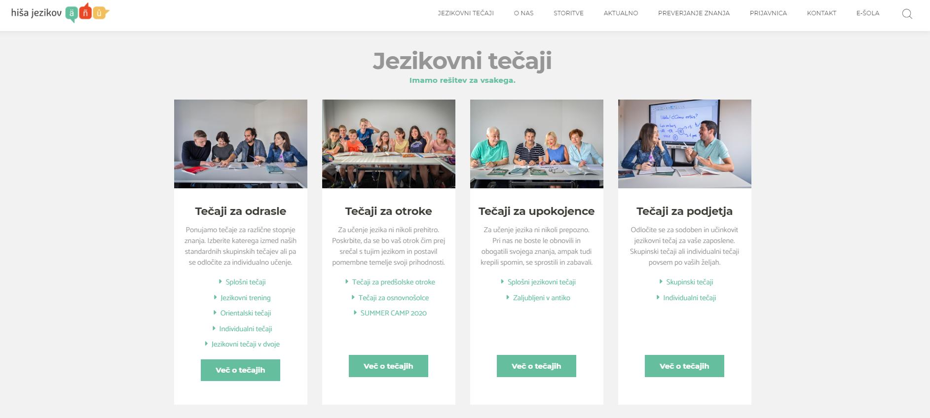 Hiša jezikov - spletna stran jezikovni tečaji